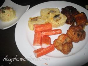 tamago rolls, shrimp cakes,tofu steak, kani sticks, mashed potato.