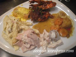 my plate from Basix : Singaporean Chili crab, Seafood curry, Carbonara, Ham & Potato salad