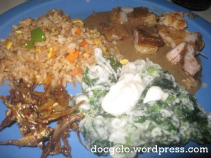 asian mix : jap rice, roasted pork, crispy kangkong, sweet n spicy dilis