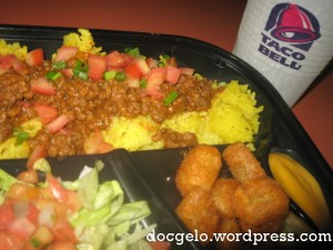 fiesta rice, seasoned ground beef, fiesta salsa salad, potato bites with cheese sauce