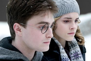 "Daniel Radcliffe as Harry Potter and Emma Watson as Hermione Granger in ""Harry Potter and the Half-Blood Prince."""