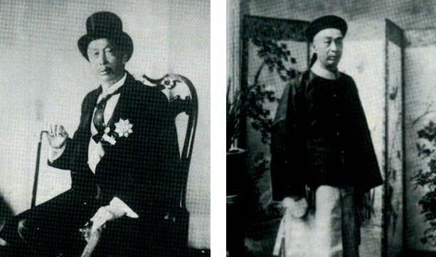 Cheong Fatt Tze in Tuxedo and in Chinese Mandarin suit.