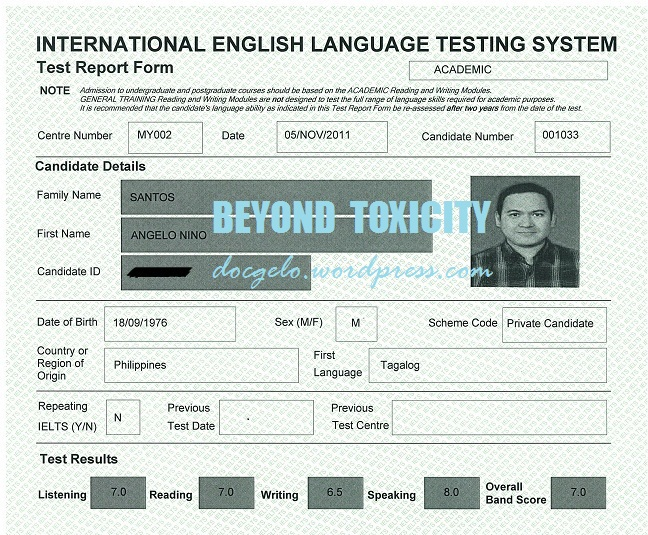ielts british council candidate number