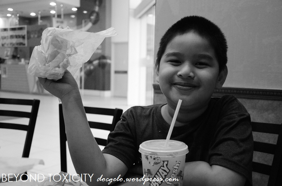 With his Lola (my mom) during our brunch before the movie.
